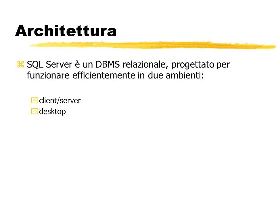 Architettura SQL Server è un DBMS relazionale, progettato per funzionare efficientemente in due ambienti: