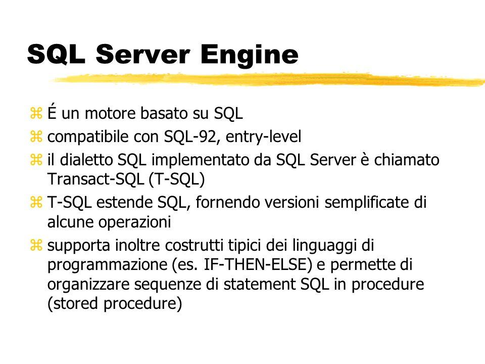 SQL Server Engine É un motore basato su SQL