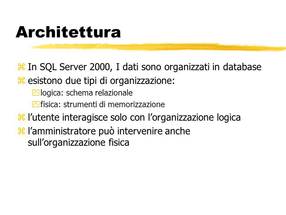 Architettura In SQL Server 2000, I dati sono organizzati in database