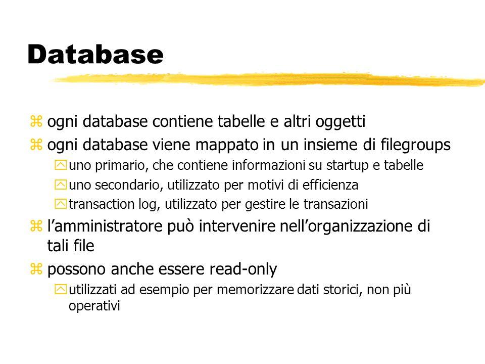 Database ogni database contiene tabelle e altri oggetti