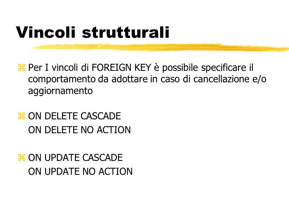 Vincoli strutturali Per I vincoli di FOREIGN KEY è possibile specificare il comportamento da adottare in caso di cancellazione e/o aggiornamento.
