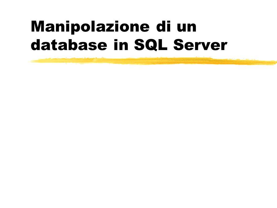 Manipolazione di un database in SQL Server