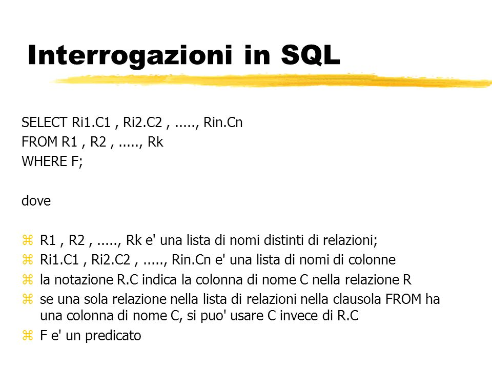 Interrogazioni in SQL SELECT Ri1.C1 , Ri2.C2 , ....., Rin.Cn