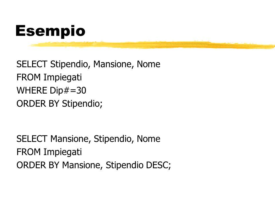 Esempio SELECT Stipendio, Mansione, Nome FROM Impiegati WHERE Dip#=30