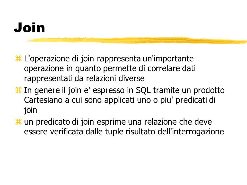 Join L operazione di join rappresenta un importante operazione in quanto permette di correlare dati rappresentati da relazioni diverse.