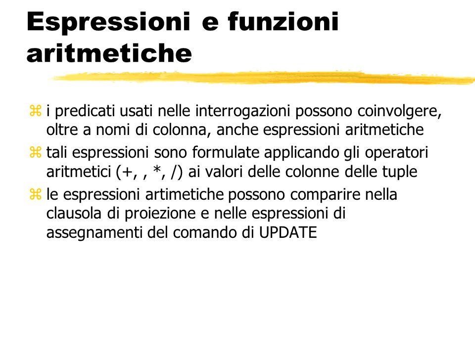 Espressioni e funzioni aritmetiche