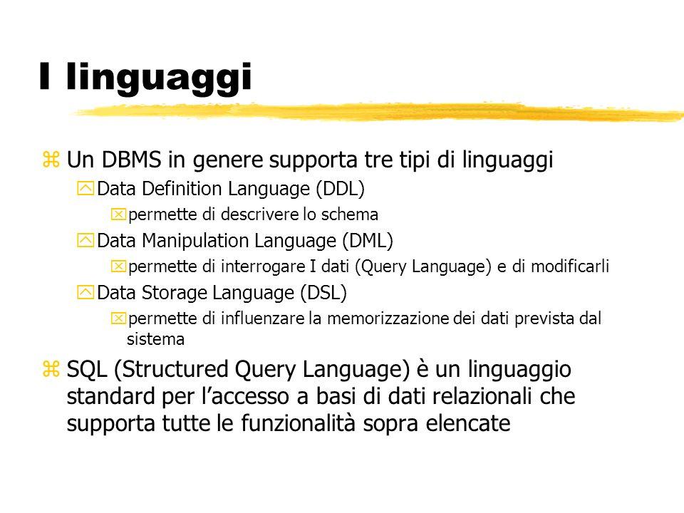 I linguaggi Un DBMS in genere supporta tre tipi di linguaggi