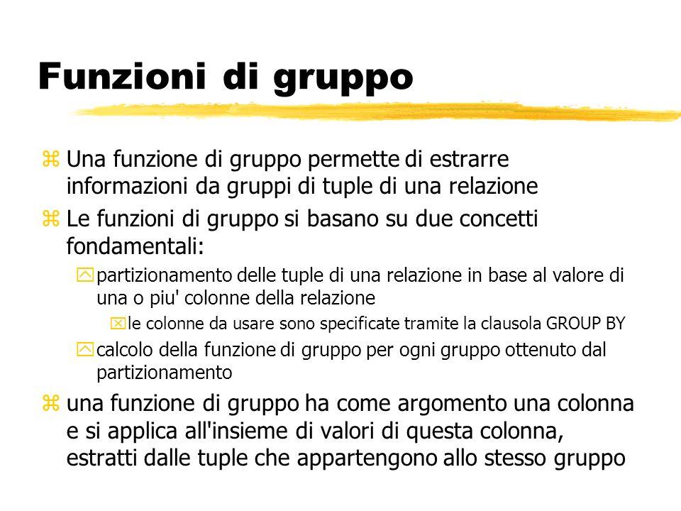 Funzioni di gruppo Una funzione di gruppo permette di estrarre informazioni da gruppi di tuple di una relazione.