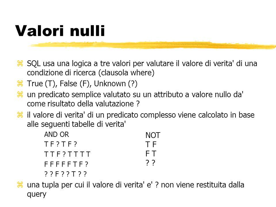 Valori nulli SQL usa una logica a tre valori per valutare il valore di verita di una condizione di ricerca (clausola where)