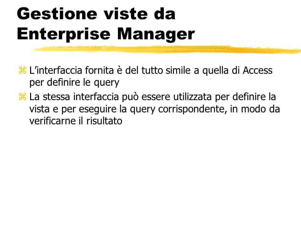 Gestione viste da Enterprise Manager