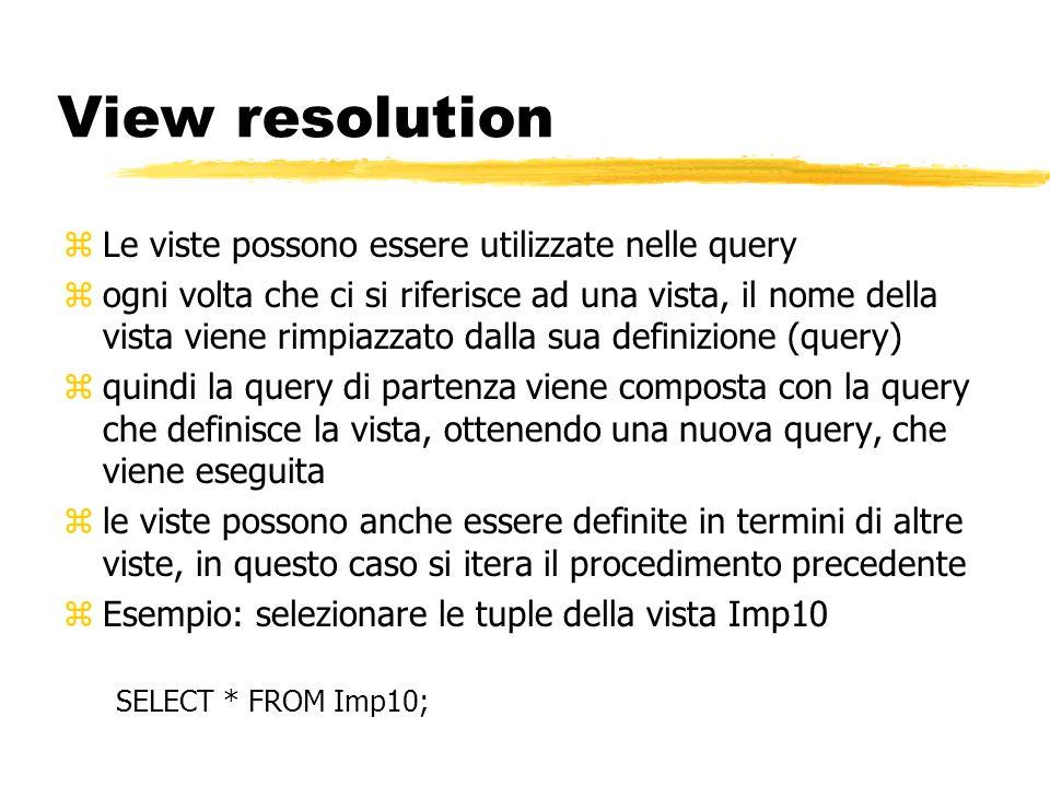 View resolution Le viste possono essere utilizzate nelle query