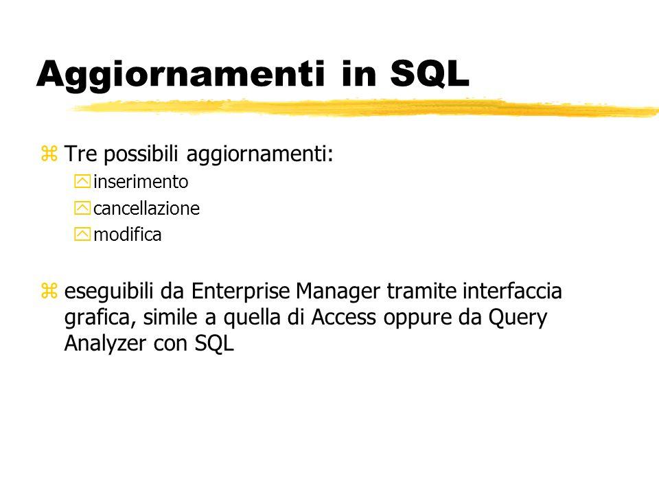 Aggiornamenti in SQL Tre possibili aggiornamenti: