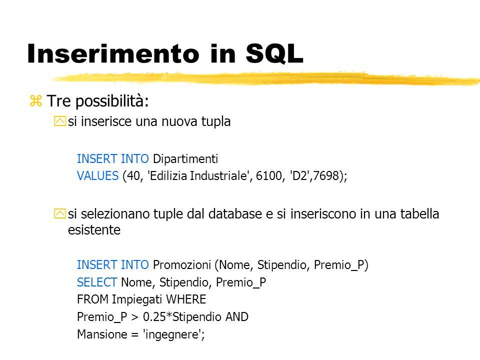 Inserimento in SQL Tre possibilità: si inserisce una nuova tupla