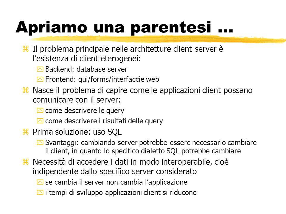 Apriamo una parentesi ...Il problema principale nelle architetture client-server è l'esistenza di client eterogenei: