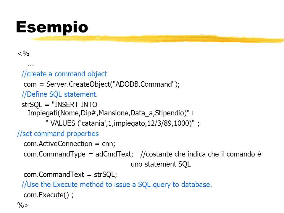 Esempio <% ... //create a command object