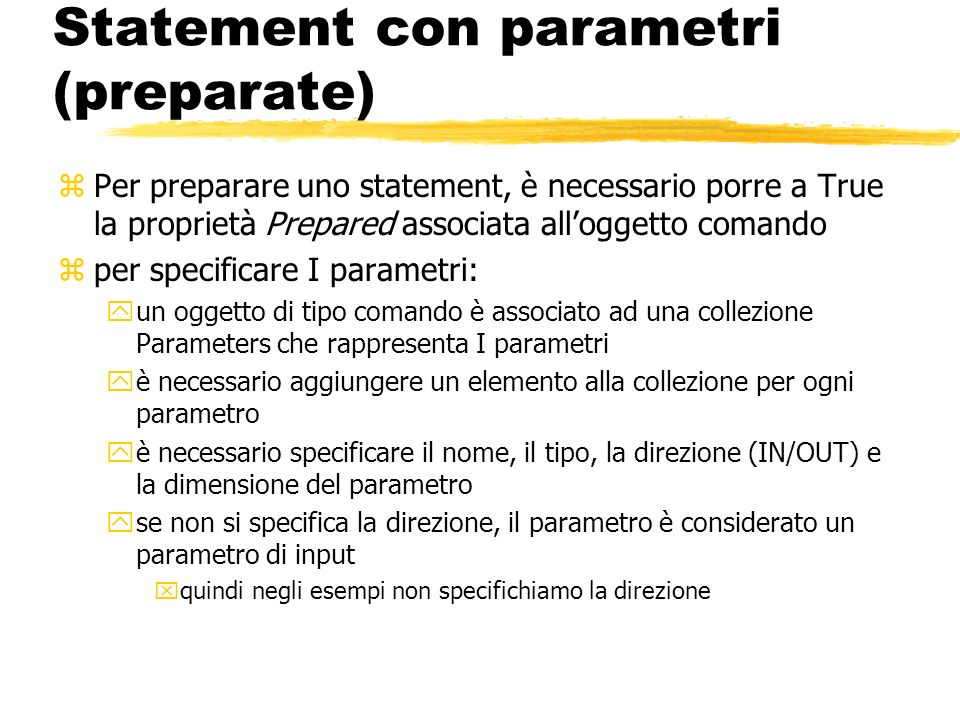 Statement con parametri (preparate)