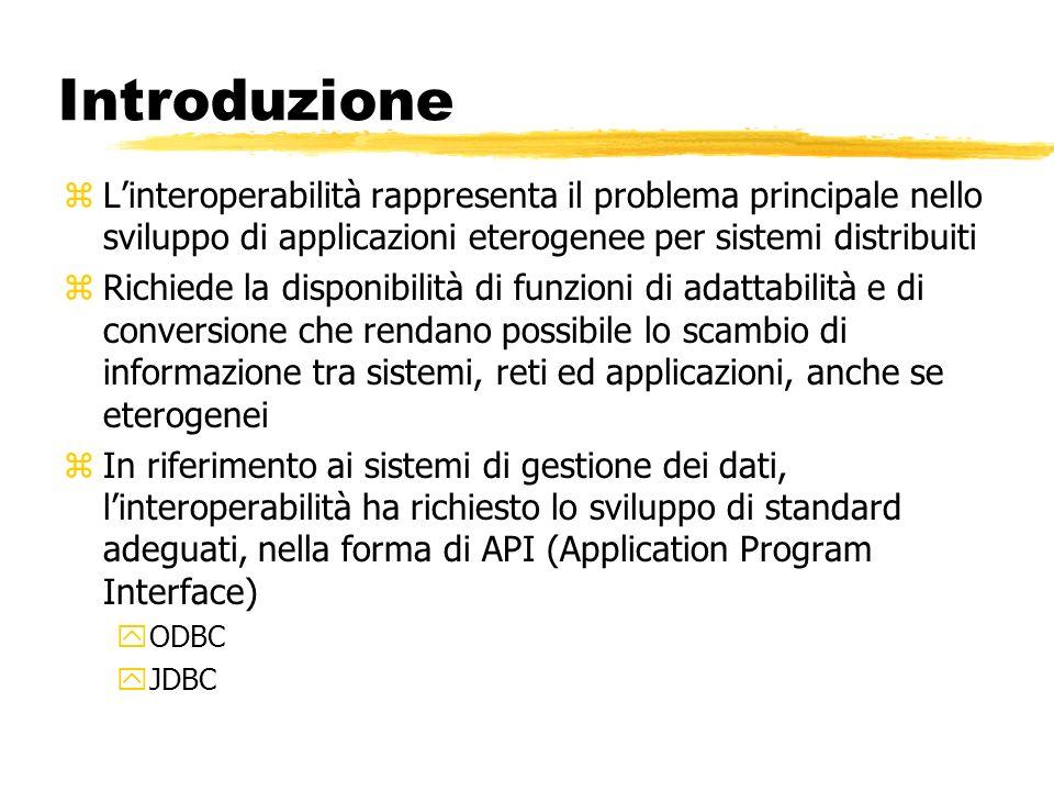 Introduzione L'interoperabilità rappresenta il problema principale nello sviluppo di applicazioni eterogenee per sistemi distribuiti.