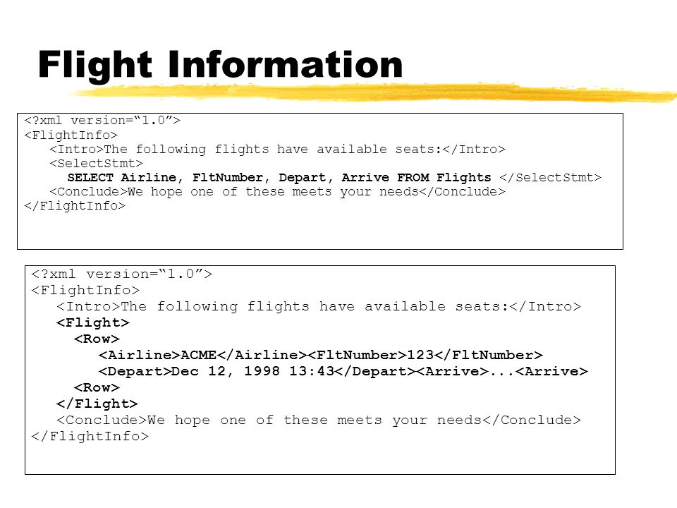 Flight Information < xml version= 1.0 > <FlightInfo>