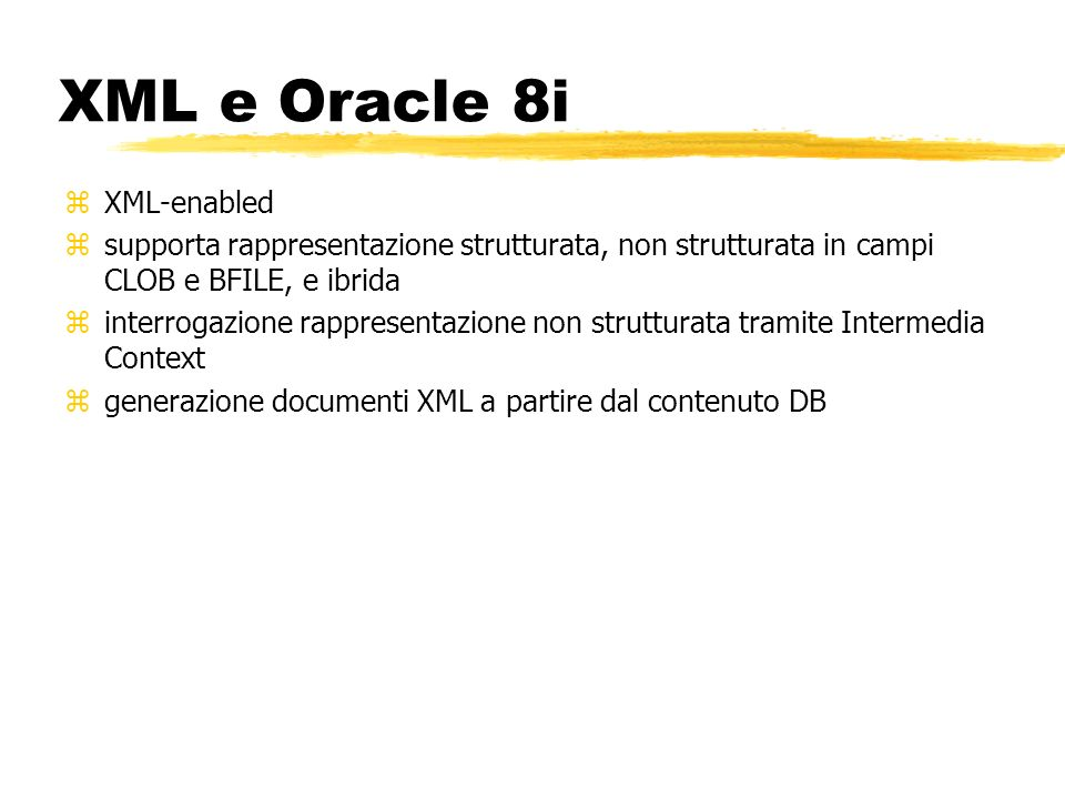 XML e Oracle 8i XML-enabled
