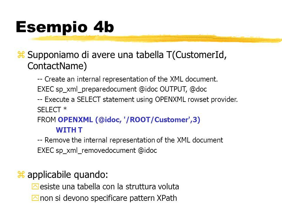 Esempio 4b Supponiamo di avere una tabella T(CustomerId, ContactName)