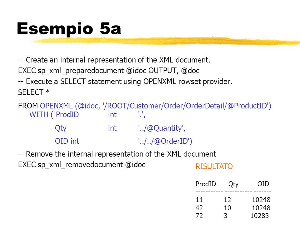 Esempio 5a -- Create an internal representation of the XML document.