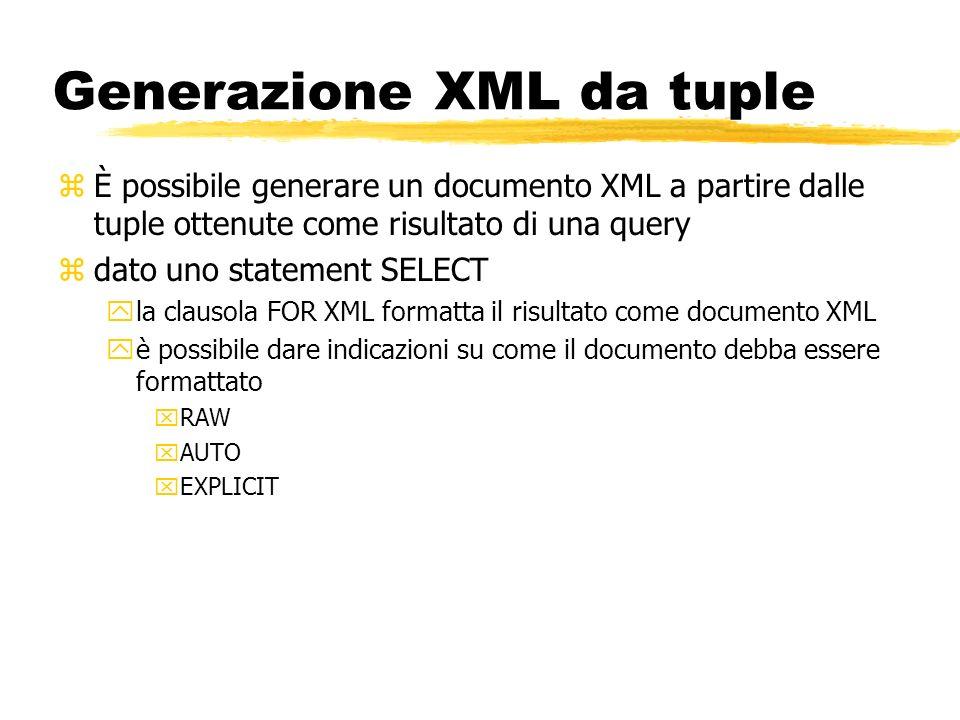Generazione XML da tuple