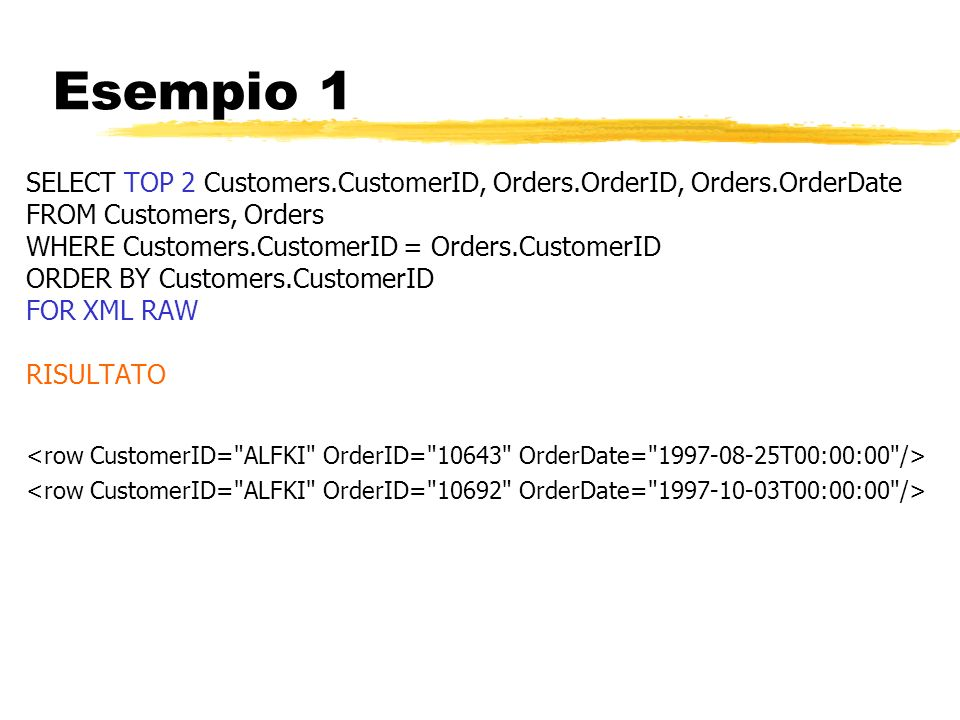 Esempio 1 SELECT TOP 2 Customers.CustomerID, Orders.OrderID, Orders.OrderDate. FROM Customers, Orders.