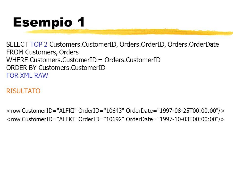 Esempio 1SELECT TOP 2 Customers.CustomerID, Orders.OrderID, Orders.OrderDate. FROM Customers, Orders.