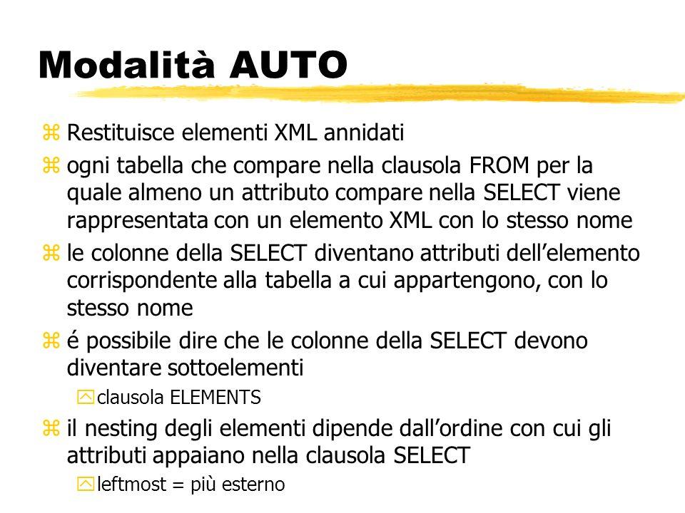 Modalità AUTO Restituisce elementi XML annidati