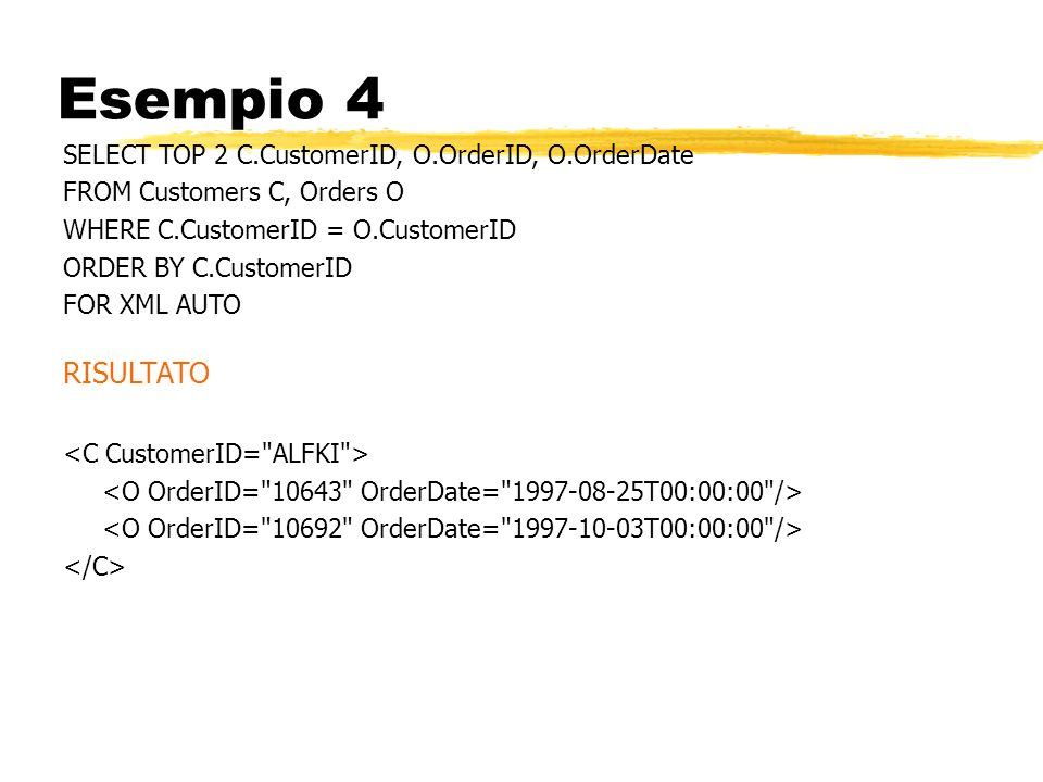 Esempio 4 RISULTATO SELECT TOP 2 C.CustomerID, O.OrderID, O.OrderDate