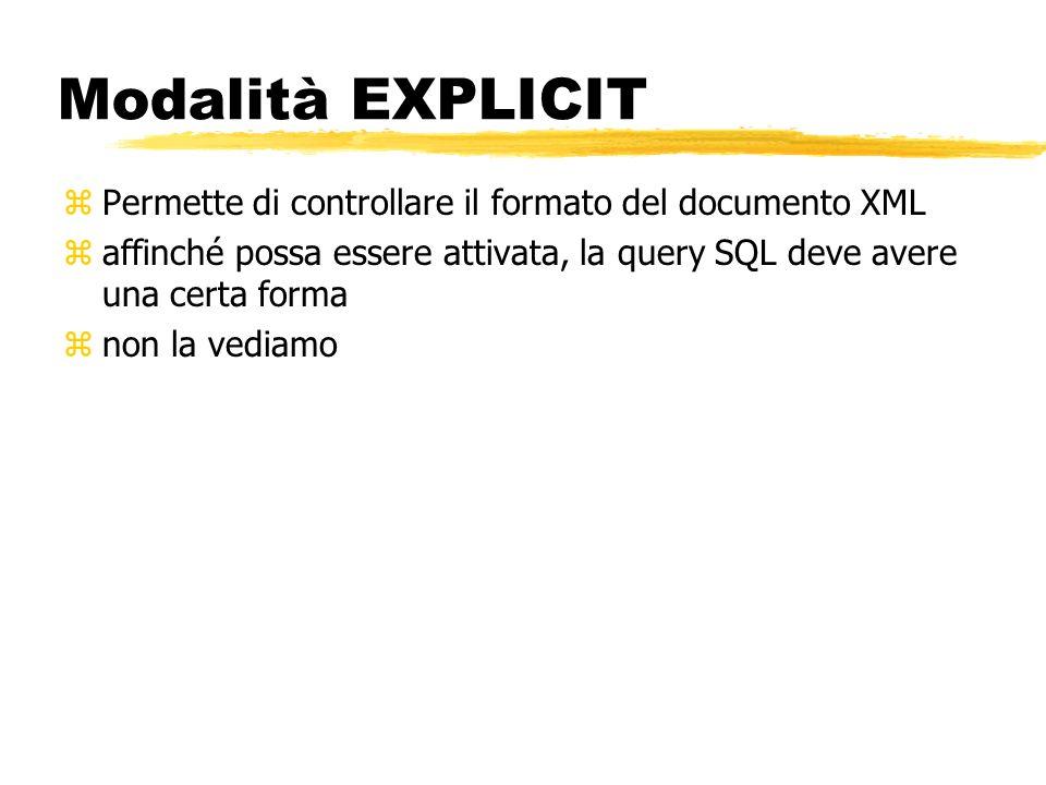 Modalità EXPLICIT Permette di controllare il formato del documento XML