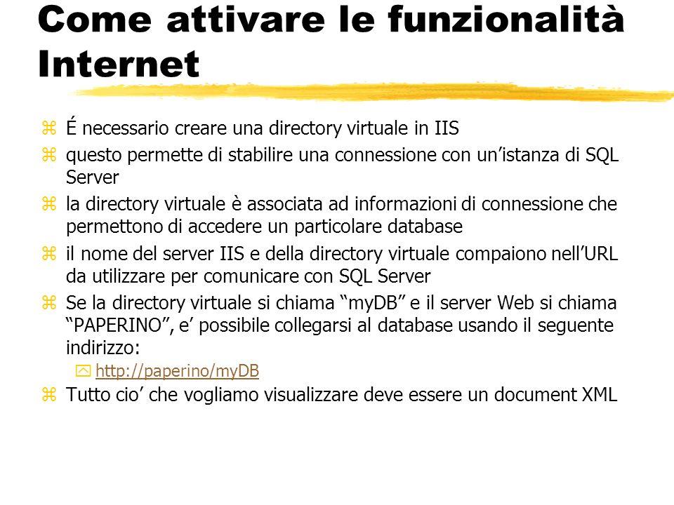 Come attivare le funzionalità Internet