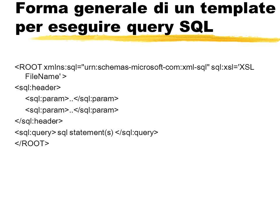 Forma generale di un template per eseguire query SQL