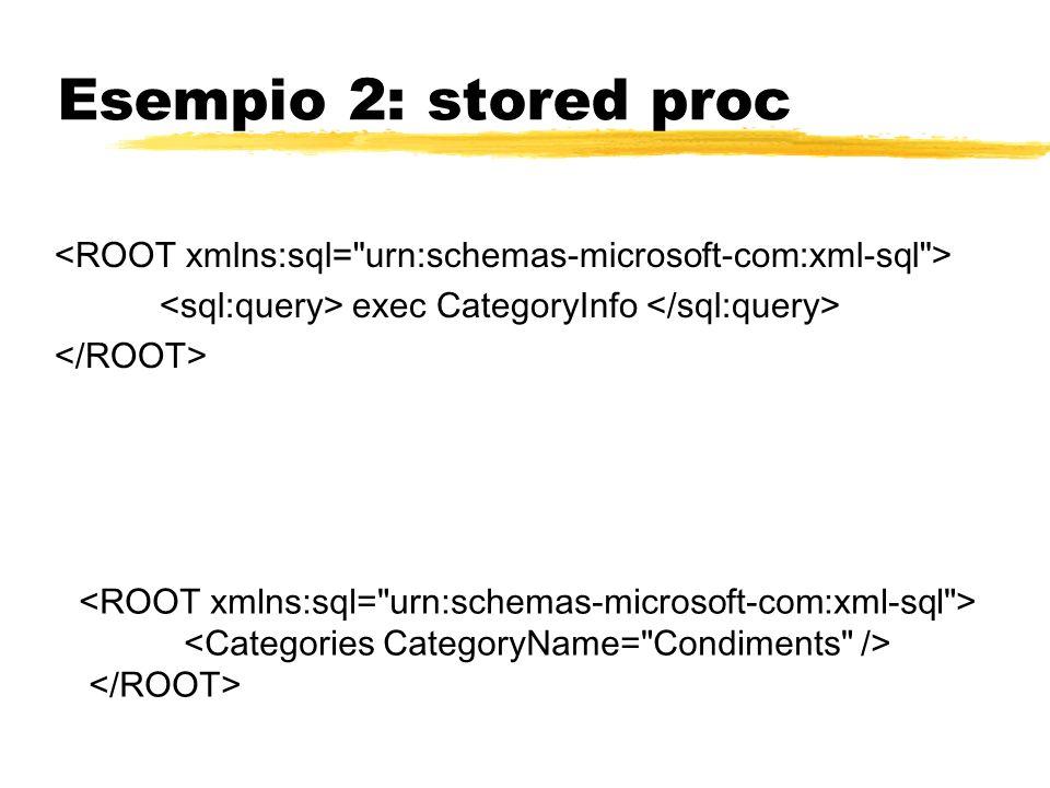 Esempio 2: stored proc <ROOT xmlns:sql= urn:schemas-microsoft-com:xml-sql > <sql:query> exec CategoryInfo </sql:query>