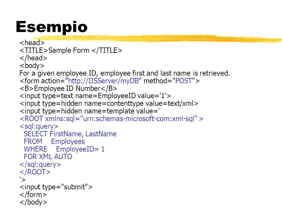 Esempio <head> <TITLE>Sample Form </TITLE>