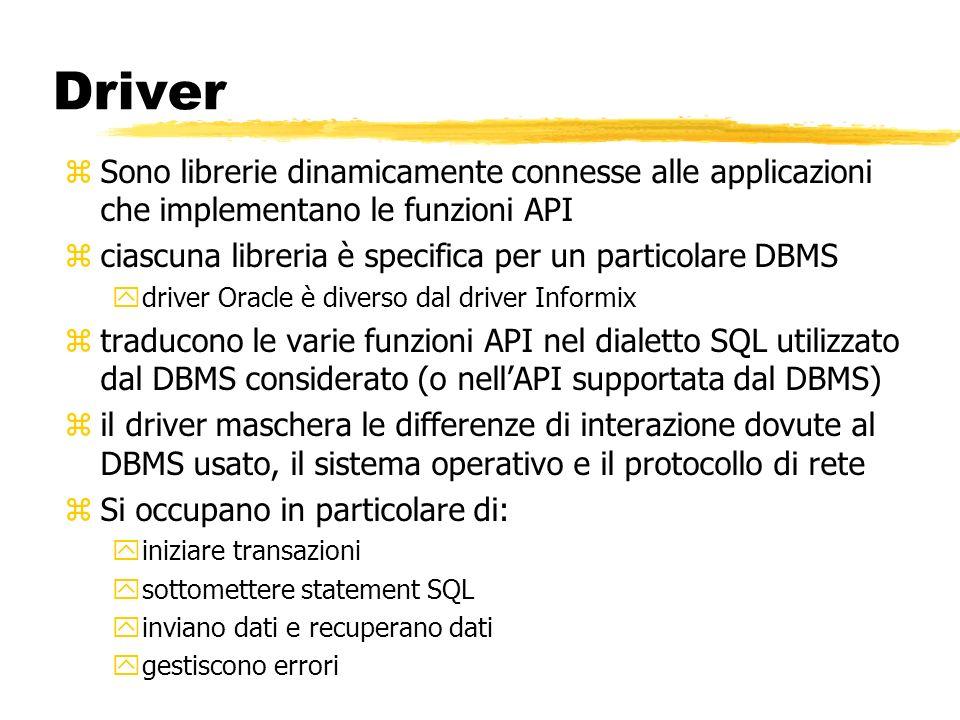 DriverSono librerie dinamicamente connesse alle applicazioni che implementano le funzioni API. ciascuna libreria è specifica per un particolare DBMS.