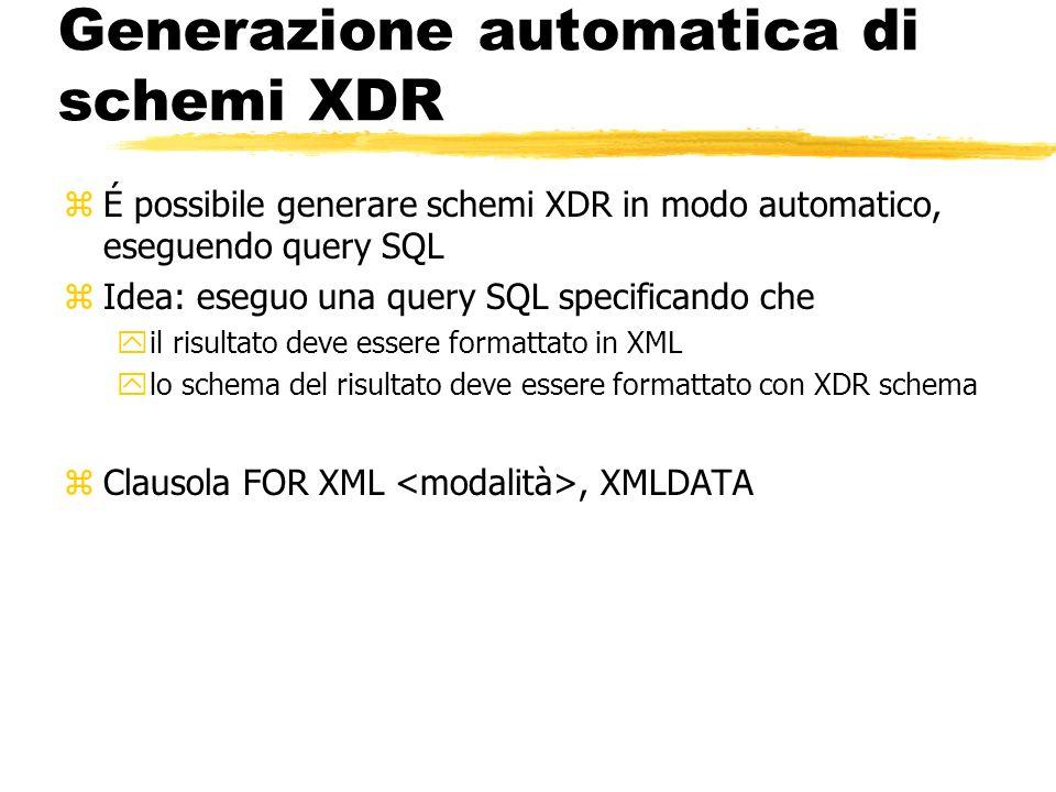 Generazione automatica di schemi XDR