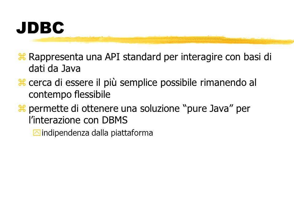 JDBC Rappresenta una API standard per interagire con basi di dati da Java.