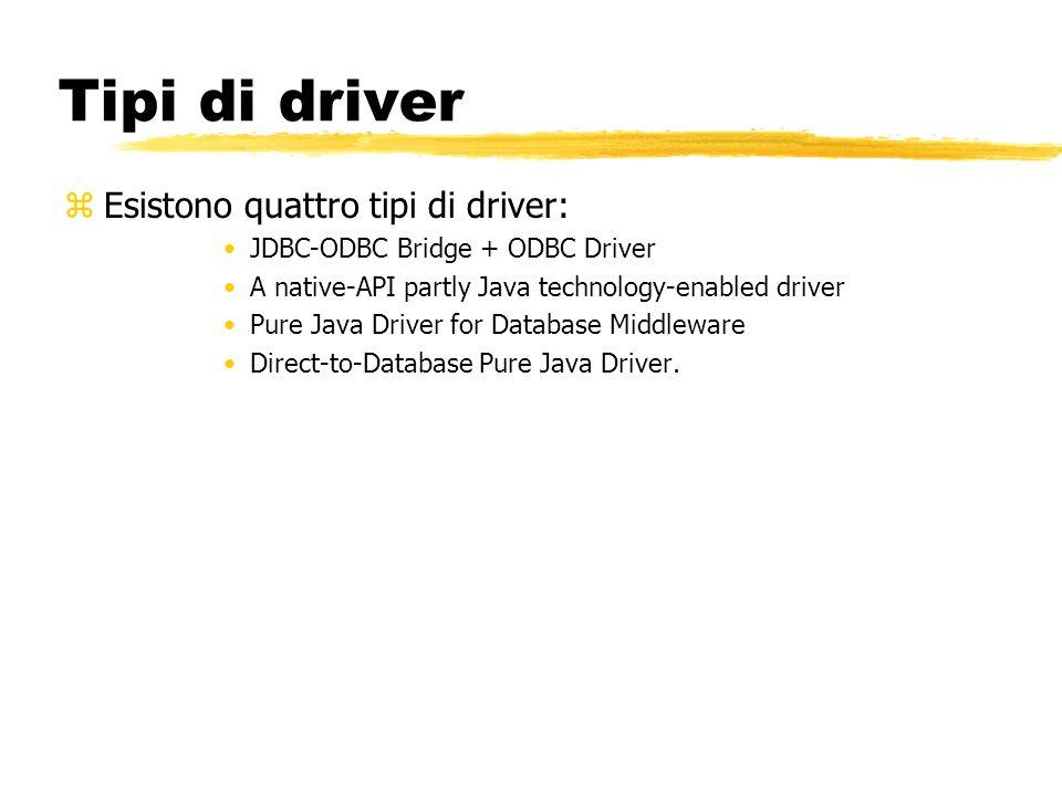 Tipi di driver Esistono quattro tipi di driver: