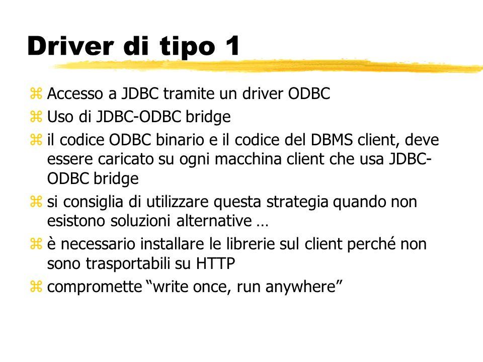 Driver di tipo 1 Accesso a JDBC tramite un driver ODBC