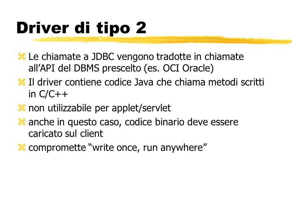 Driver di tipo 2 Le chiamate a JDBC vengono tradotte in chiamate all'API del DBMS prescelto (es. OCI Oracle)