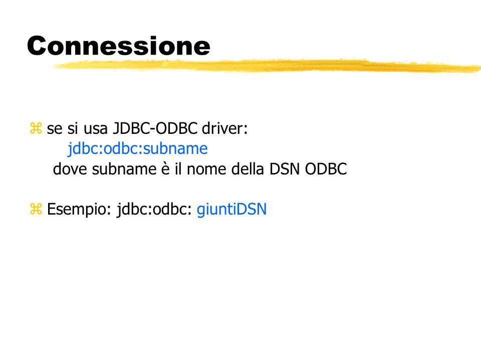 Connessione se si usa JDBC-ODBC driver: jdbc:odbc:subname