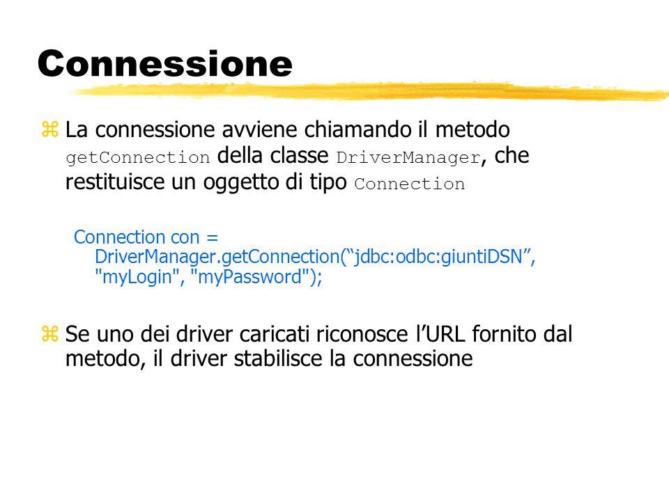 Connessione La connessione avviene chiamando il metodo getConnection della classe DriverManager, che restituisce un oggetto di tipo Connection.