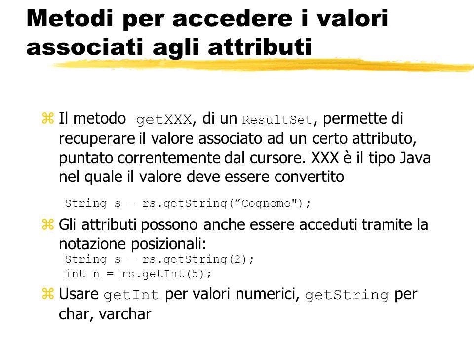 Metodi per accedere i valori associati agli attributi