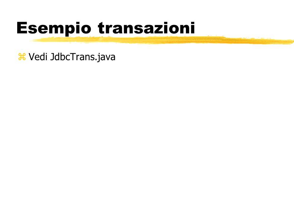 Esempio transazioni Vedi JdbcTrans.java