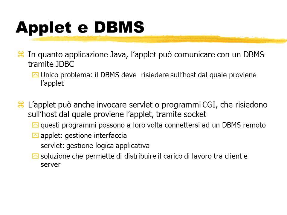 Applet e DBMS In quanto applicazione Java, l'applet può comunicare con un DBMS tramite JDBC.