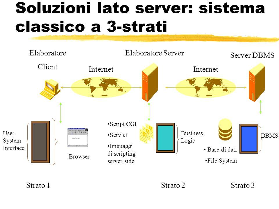Soluzioni lato server: sistema classico a 3-strati