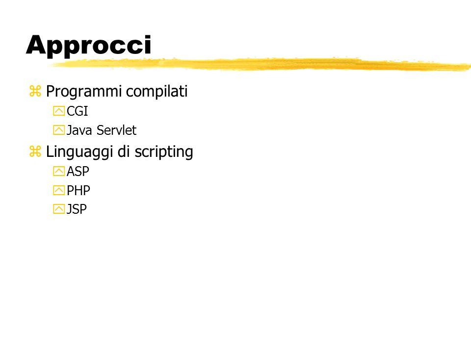 Approcci Programmi compilati Linguaggi di scripting CGI Java Servlet