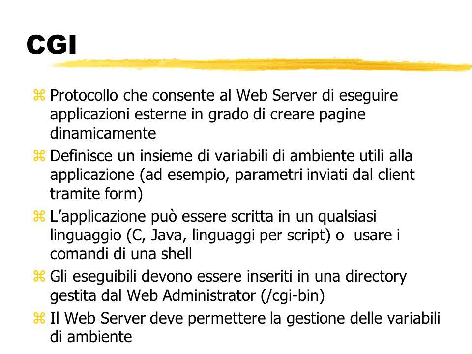 CGI Protocollo che consente al Web Server di eseguire applicazioni esterne in grado di creare pagine dinamicamente.