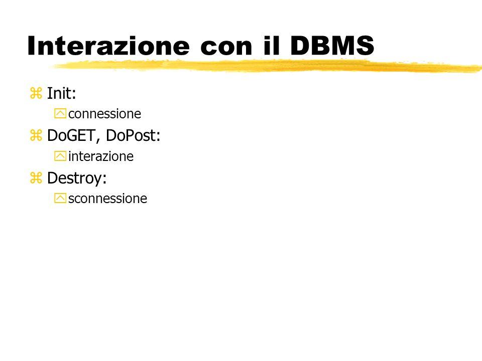 Interazione con il DBMS